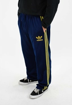 Vintage Adidas Tracksuit Bottoms Navy Blue And Yellow