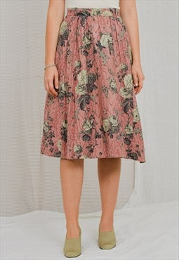Printed skirt vintage 80s floral salmon flowers pleated XS/S