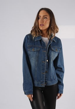 Vintage Denim Jacket Oversized Fitted UK 14 Large  (HPAB)