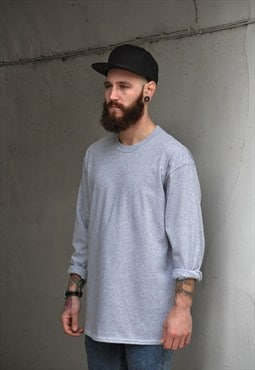 Retro New Plain Grey Oversized Crew Neck Long Sleeve Tshirt