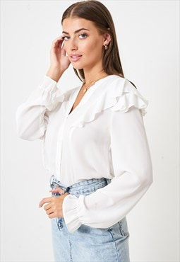Raelyn Long Sleeve Ruffle Blouse in White Chiffon