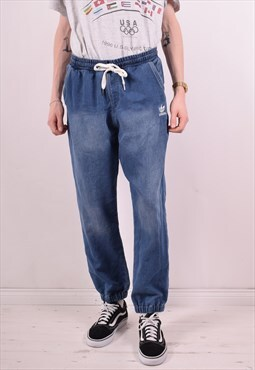 Adidas Mens Vintage Denim Joggers W34 L29 Blue 90s