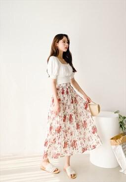 Floral Long Pleat Skirt