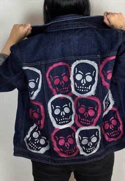 Reworked Skull Hand Painted Denim Jacket Size XL