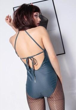 90s grunge y2k halter neck open back straps grey swimsuit