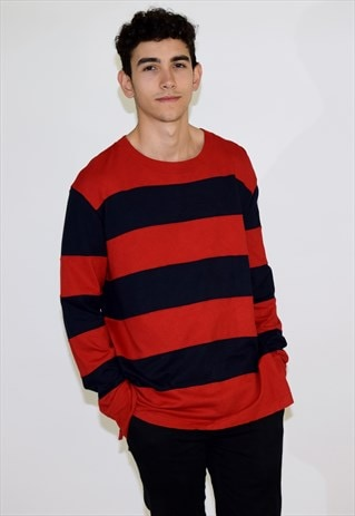 VINTAGE 90S RED STRIPED TOMMY HILFIGER LONG SLEEVE T SHIRT