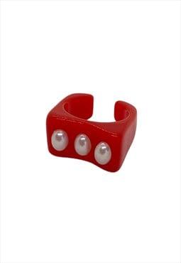 Red Triple Pearl Resin Ring