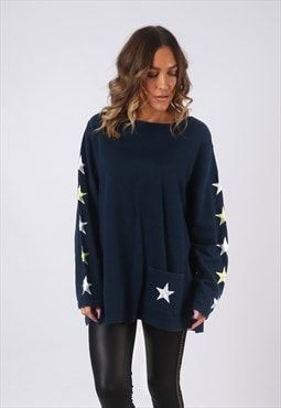 Sweatshirt Jumper Oversized Print Logo STAR UK 14 - 16 (CWBG