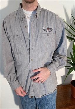 vintage grey harley davidson long sleeved embroidered shirt