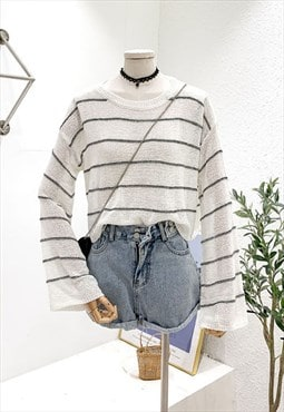 Essential Knitted Top in Stripe