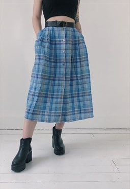 Vintage 90s Cheesecloth Checkered Blue Midi Skirt