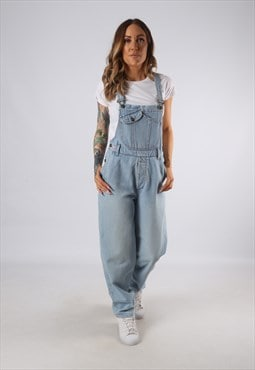 Vintage Denim Dungarees Wide Tapered Leg UK 10 Small  (JE4S)