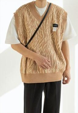 Men's Spring leopard collar knitted vest