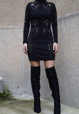 Evening Black Dress/Sleeves/Clasps/Pencil Dress/F1518