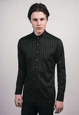 Mens Black Eton Stripped Kaftan Shirt