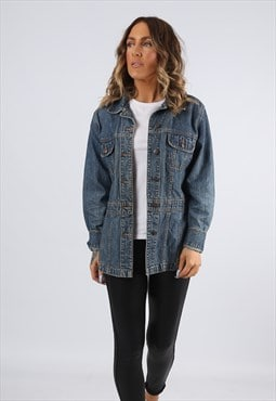 Denim Jacket Lightweight Long BILL BASS UK 10  (K92J)