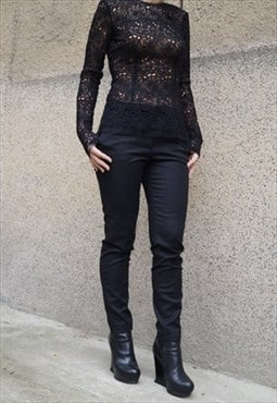 Stylish Shirt Lace Blouse Sexy Top Sexy Blouse Black F1536