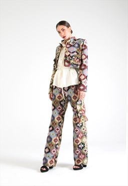 Multicolor Cotton Cropped Jacket with Pockets