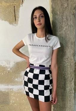 Checkerboard black and white mini skirt