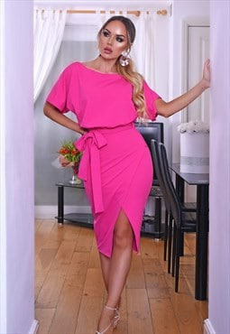 Judith Hot Pink Wrap Front Batwing Dress