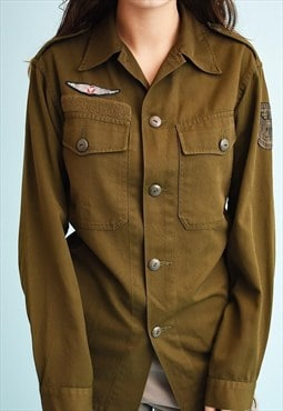 90's retro military khaki shirt