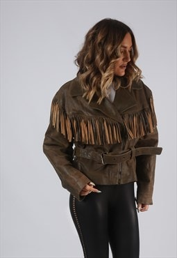 Vintage Leather Fringe Tassel Jacket 90's UK 14 Brown (ELBE)