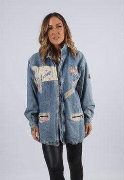 Vintage Denim Jacket Oversized Longline UK 12 M (X5I)