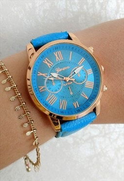 Sky Blue Numeral Statement watch