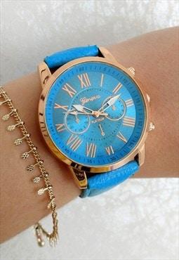 Sky Blue Numeral Statement watch
