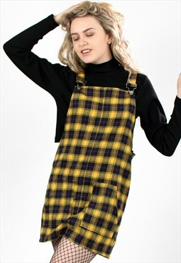 'Cher' Yellow Check Pinafore Dress