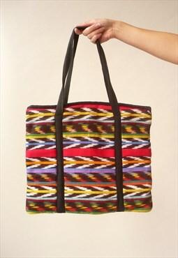 1990's Vintage Guatemalan Woven Stripe Aztec Hippie Folk Bag