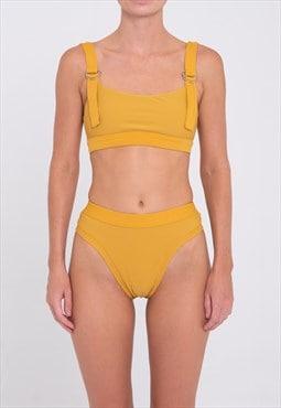 Reversible Crop Bikini Top - Yellow Ribbed