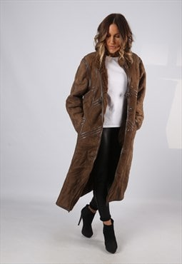 Sheepskin Suede Leather Shearling Coat UK 14 Large (LJBR)