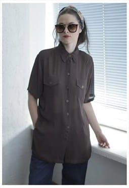 Vintage 90's Brown Short Sleeve Shirt