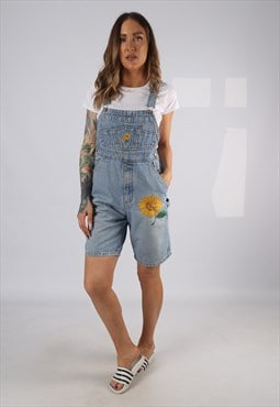 Vintage Denim Dungaree Shorts PETITE FIT UK 10 Small (HD1Y)