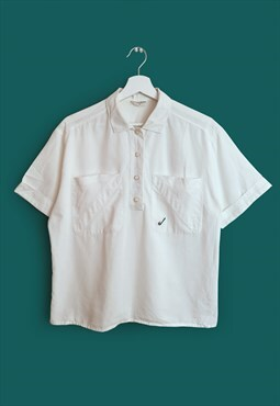 Vintage 80's Retro Boxy Button-up Golf Shirt / Blouse