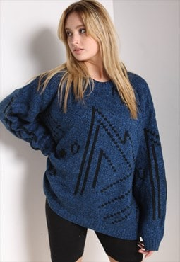 Vintage Abstract Crazy Jazzy Knit Jumper Blue