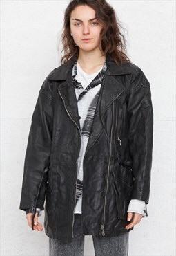 Vintage Black Leather Jacket Coat