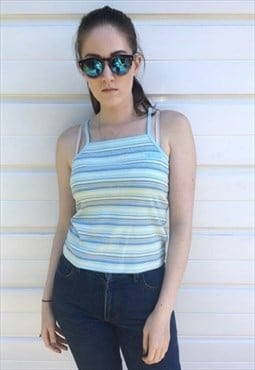 Womens Vintage 90s ellesse vest top stripy sleeveless blouse