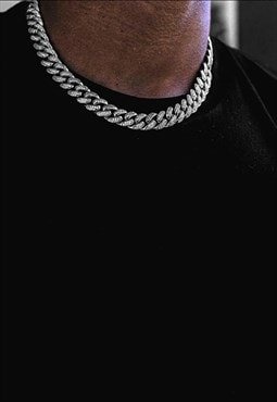 "8mm 24"" Diamond Iced Out Tennis Curb Necklace Chain - Silver"