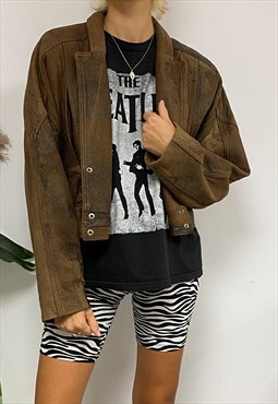 Cool Unique Vintage Brown Cropped Leather Jacket