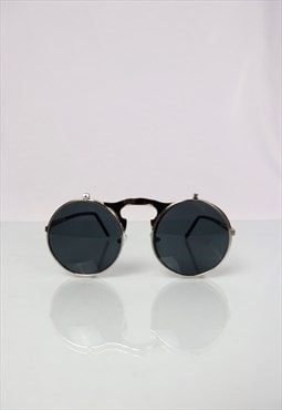 Silver Metal Flip Up Retro Sunglasses