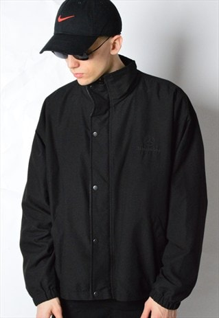 90S BLACK CORDUROY COLLAR EMBROIDERED MERCEDES BENZ JACKET