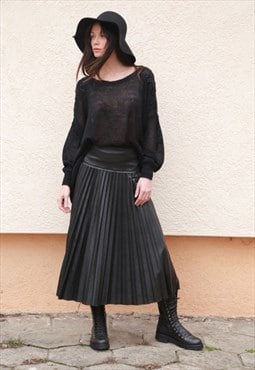 Midi Leather Skirt Pleated Casual All Season F1565