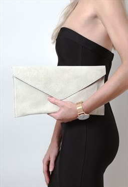 Cream Suede Envelope Clutch Bag
