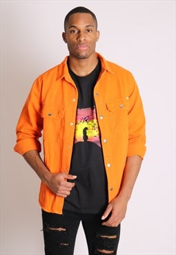 Ashton denim worker shirt in neon orange