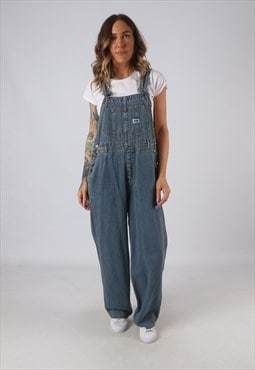 Denim Dungarees Wide Leg Vintage UK 12  (HK4D)