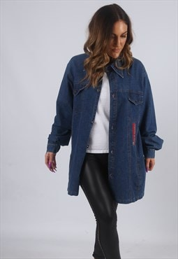 Vintage Denim Shirt Style Jacket Oversized Long UK 16 (W2B)