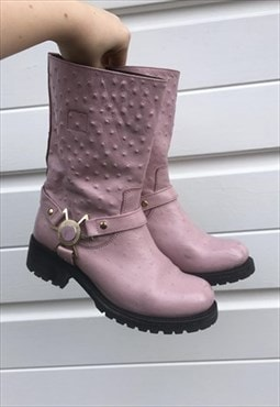 Womens Vintage 90s Versace boots festival pink leather shoes