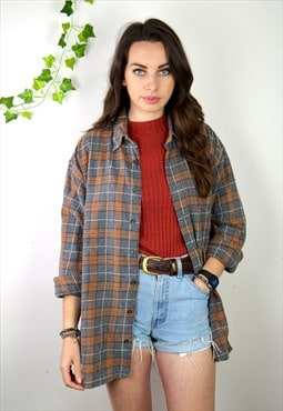 90s Vintage Orange and Grey Checked Flannel Shirt